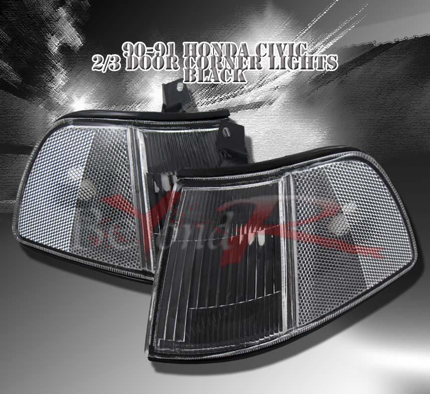 1990 Honda Civic Hatchback Jdm. 1990-1991 HONDA CIVIC HATCHBACK JDM BLACK CORNER LIGHTS | eBay
