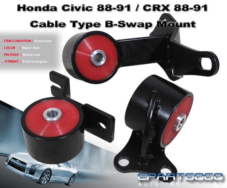 1988 1991 Honda Civic Crx Ef Vtec 3pc Motor Mounts B16 B18 B Series Swap 88 89 Ebay