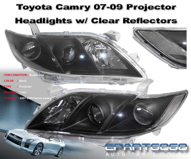 2007 2008 2009 toyota camry black housing clear projector headlights se le xle ebay. Black Bedroom Furniture Sets. Home Design Ideas