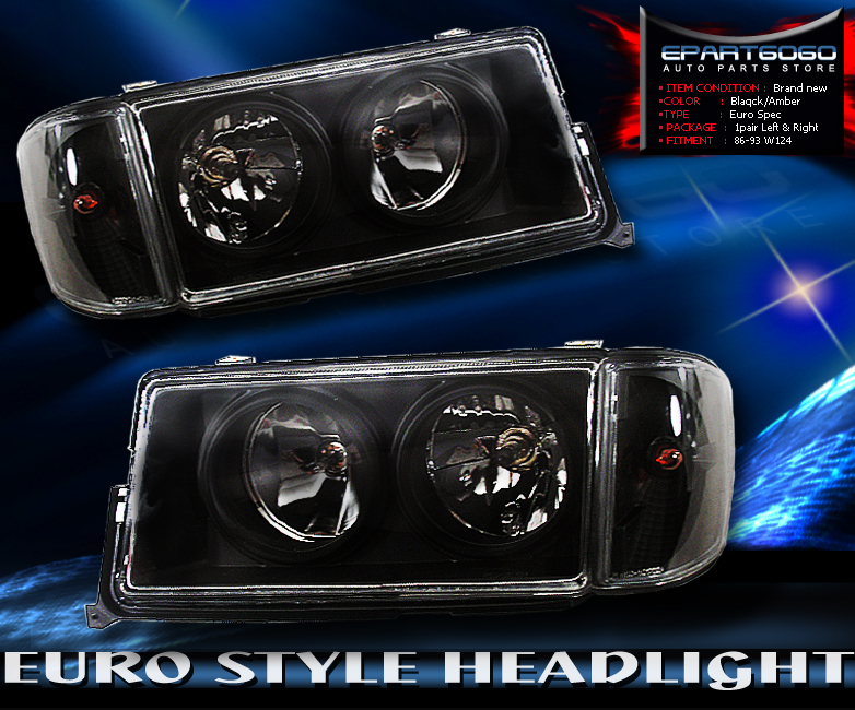 1982 1993 mercedes benz sedan 190e w201 black housing for Mercedes benz 190e headlights