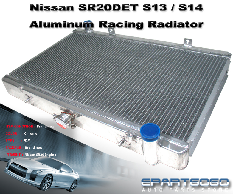 "FOR 91-99 SENTRA SE//SE-R B13//B14 SR20DE 2-ROW CORE ALUMINUM RADIATOR+10/""RED FAN"