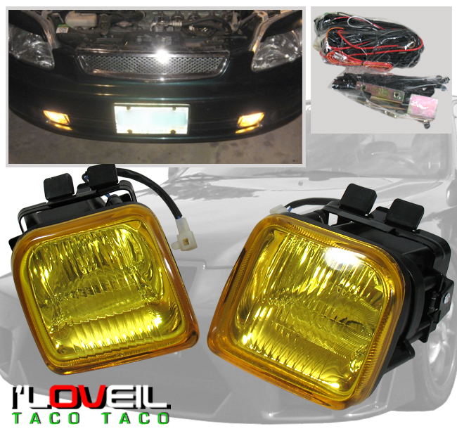 Lamp Switch 96 97 98 Civic EX DX LX EK Square Clear Bumper Driving Fog Lights