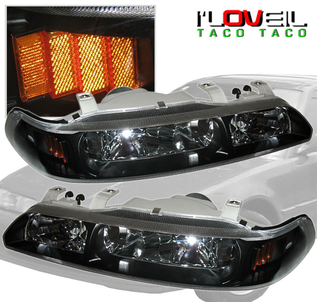 Acura Integra Headlights: 90-93 ACURA INTEGRA DA 1PCS JDM CRYSTAL BLACK HOUSING